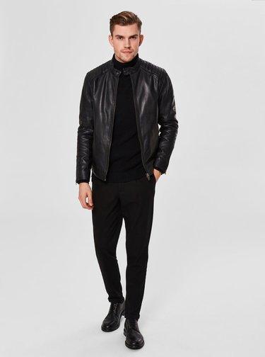Čierna kožená bunda so zipsami na rukávoch Selected Homme