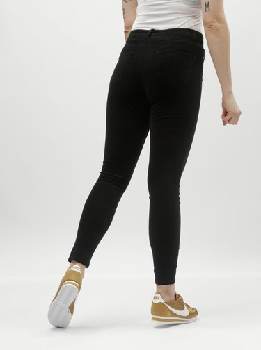 Pantaloni negri skinny din material reiat Miss Selfridge