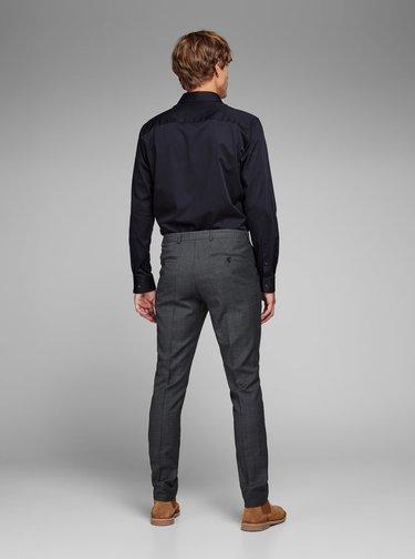 Šedé žíhané oblekové kalhoty s příměsí vlny Jack & Jones Laris