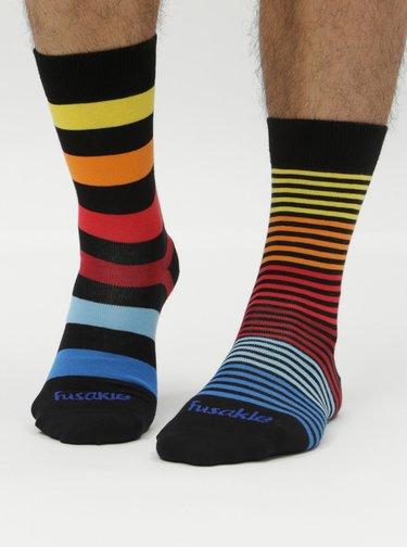 Černé pruhované ponožky Fusakle Extrovert temný