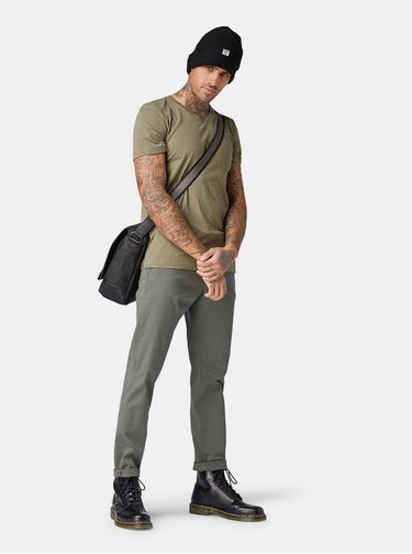 Pantaloni barbatesti gri slim chino Tom Tailor Denim