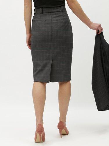 Sivá kockovaná puzdrová sukňa Dorothy Perkins