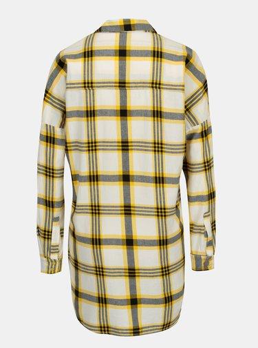 Žlutá dlouhá kostkovaná košile Noisy May Erik