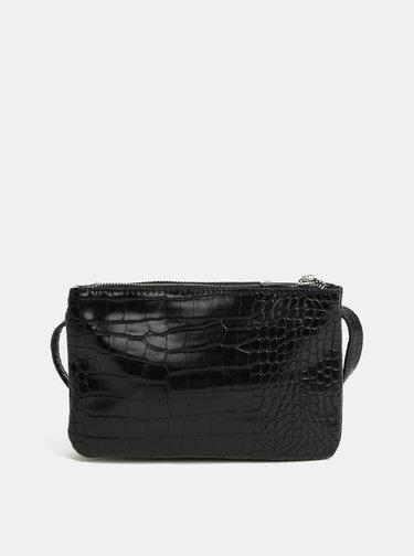 Černá crossbody kabelka s hadím vzorem Pieces Patricia