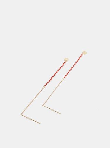 Visiace náušnice v červenej a zlatej farbe Pieces Selina
