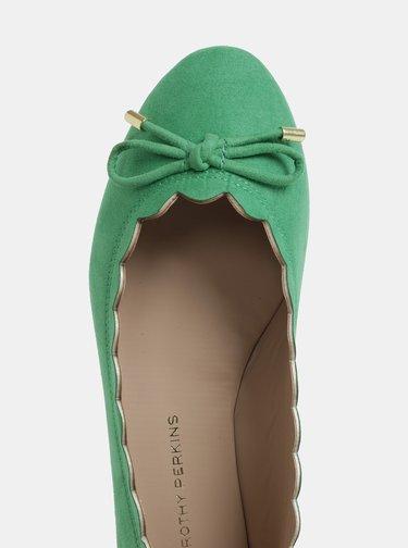 Zelené baleríny v semišové úpravě Dorothy Perkins