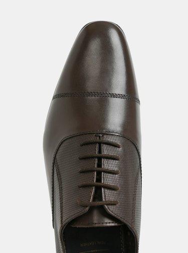 Pantofi barbatesti maro inchis din piele Burton Menswear London