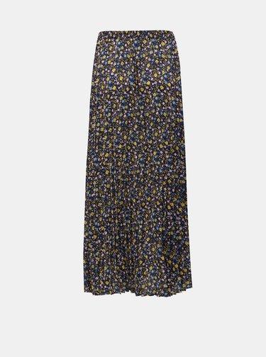 Modro–žltá plisovaná kvetovaná maxisukňa ONLY Phoebe
