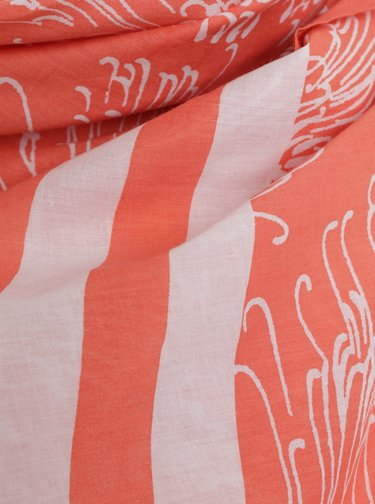 Bielo–oranžová dámska vzorovaná šatka GANT