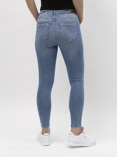 Modré zkrácené skinny džíny s vysokým pasem ONLY Paola