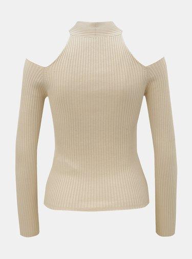 Béžové žebrované tričko s odhalenými rameny TALLY WEiJL Rahana