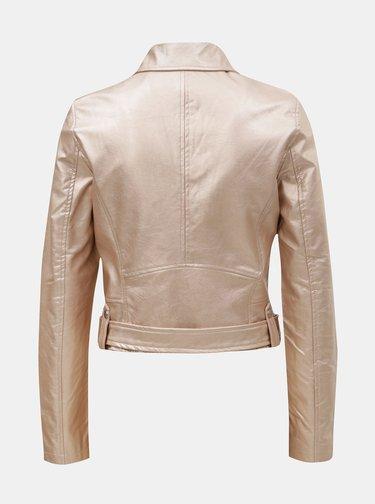 Jacheta biker roz deschis din piele sintetica cu irizatii metalice TALLY WEiJL Damar