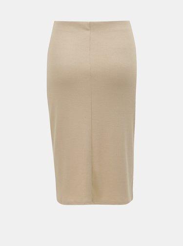 Béžová rebrovaná sukňa s rozparkom TALLY WEiJL Pekado