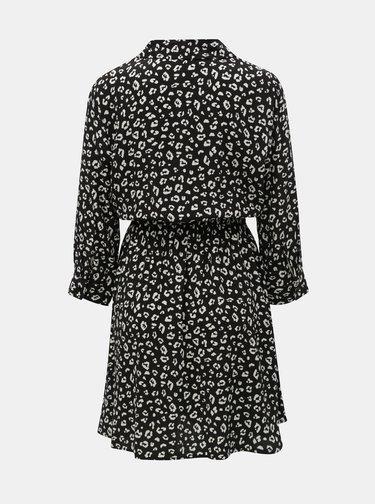 Černé košilové šaty s leopardím vzorem TALLY WEiJL Vilaury