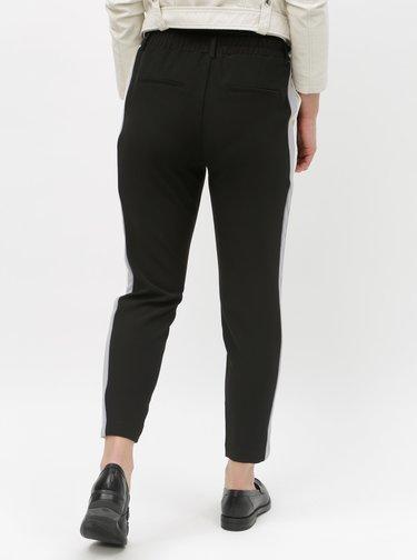 Černé zkrácené kalhoty s pruhy na bocích TALLY WEiJL Asyib