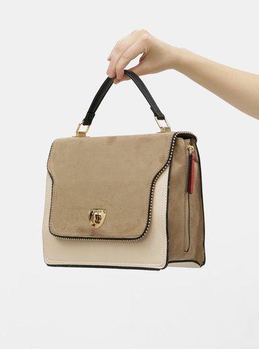 Hnedo–béžová kabelka s detailmi v semišovej úprave Bessie London