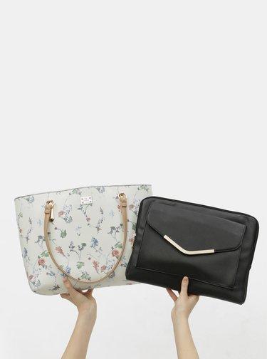 Krémový kvetovaný shopper s puzdrom na notebook 2v1 Bessie London