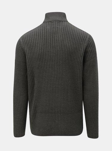Pulover gri inchis cu fermoar la gat Burton Menswear London