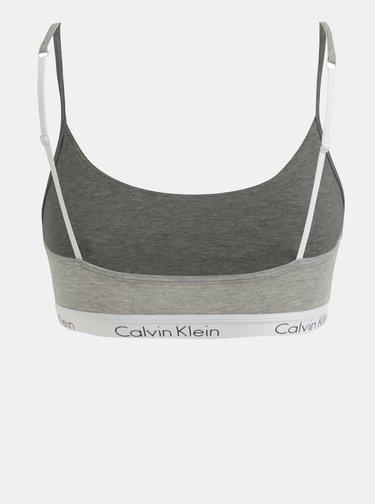 Bustier gri melanj cu banda lata elastica si logo - Calvin Klein Underwear