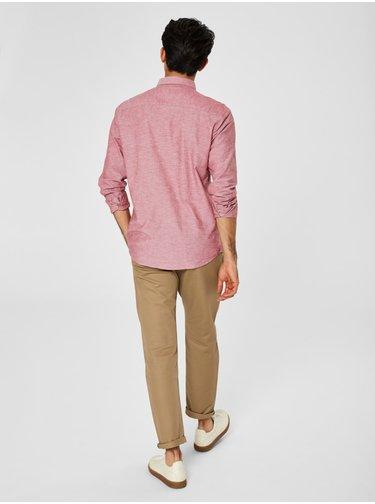 Camasa roz melanj slim fit cu amestec de lana Selected Homme Linen
