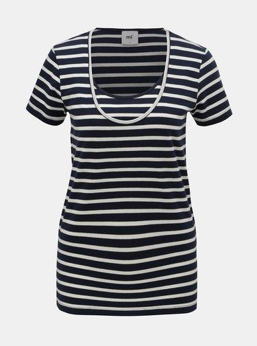 Sada dvou pruhovaných kojicích basic triček v bílé a modré barvě Mama.licious Lea