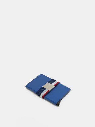 Tmavě modrá pruhovaná gumička na hliníkové pouzdro Secrid
