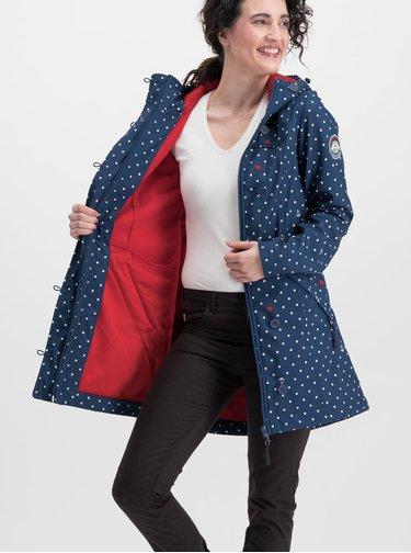 Tmavě modrý puntíkovaný softshelový voděodolný kabát Blutsgeschwister Wild Weather