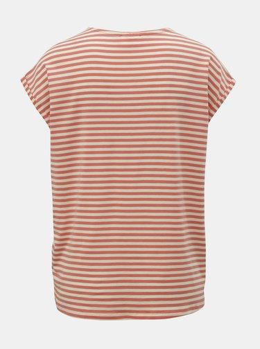 Bílo-oranžové pruhované basic tričko AWARE by VERO MODA Ava