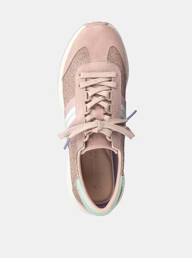 Pantofi sport roz stralucitori cu detalii din piele intoarsa Tamaris