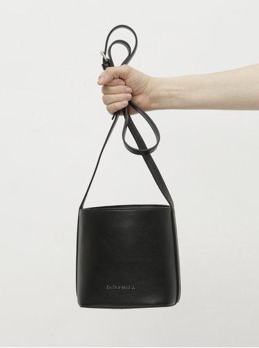 Geanta bucket neagra din piele peste umar Smith & Canova Loe
