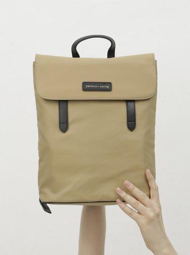 Béžový batoh s koženými detaily Smith & Canova Miza