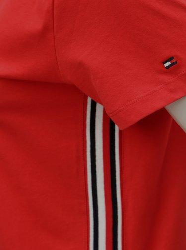 Červené dámské tričko s pruhy na bocích Tommy Hilfiger Thea