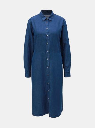 Modré rifľové košeľové šaty Calvin Klein Jeans