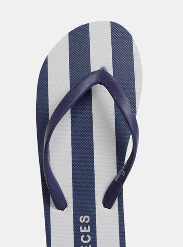 Papuci flip-flop alb-albastru in dungi Pieces Blair