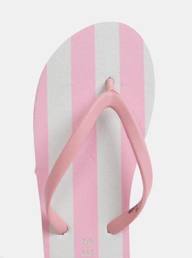 Papuci flip-flop alb-roz in dungi Pieces Blair