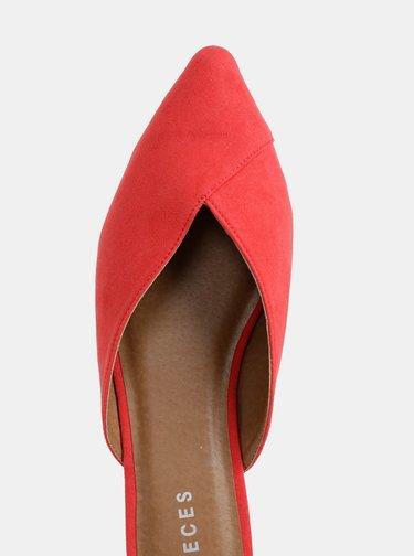 Červené šľapky v semišovej úprave Pieces Cameo