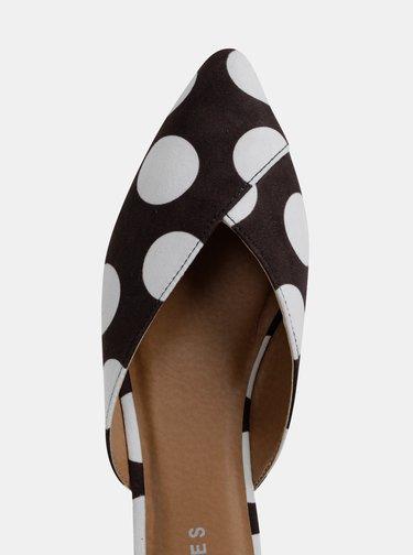 Bílo-černé puntíkované pantofle v semišové úpravě Pieces Cameo