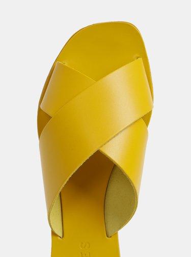 Papuci galbeni din piele Pieces Chara