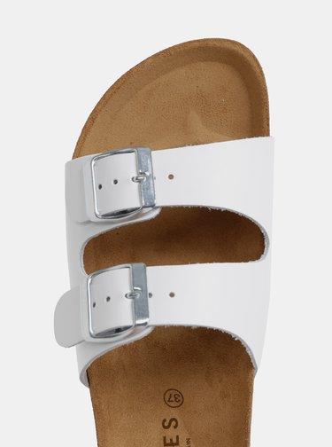 Papuci albi din piele Pieces Coco