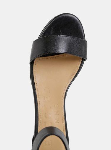 Černé kožené sandálky Selected Femme Merle