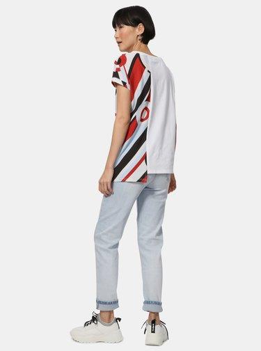 Tricou alb asimetric cu imprimeu Desigual Brandall