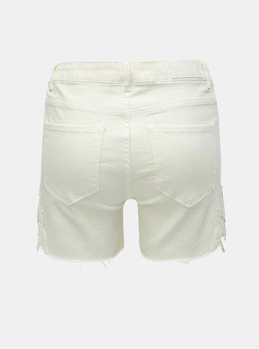 Pantaloni scurti crem slim fit din denim cu dantela VERO MODA Seven