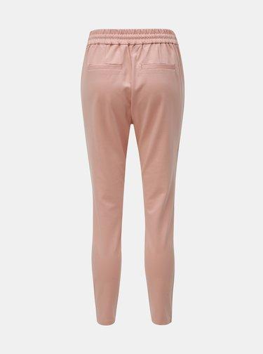 Starorůžové zkrácené kalhoty s vysokým pasem VERO MODA Eva