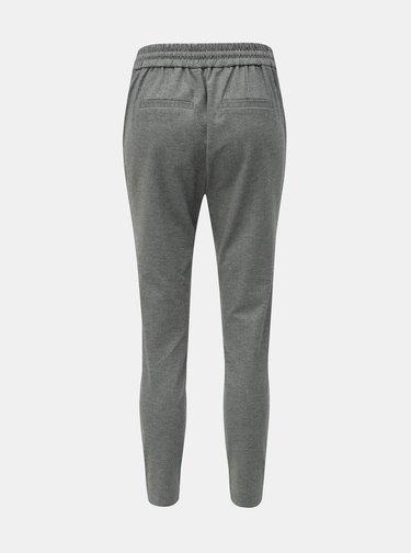 Pantaloni gri melanj pana la glezne cu talie inalta VERO MODA Eva