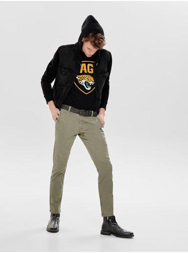 Černá džínová bunda s mikinovými rukávy ONLY & SONS Coin
