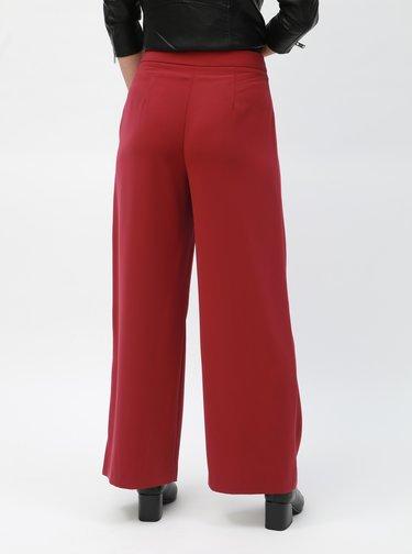Červené široké kalhoty s vysokým pasem Dorothy Perkins