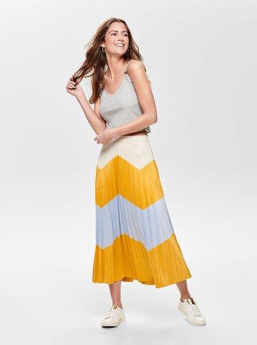 Modro-hořčicová plisovaná midi sukně v semišové úpravě ONLY June