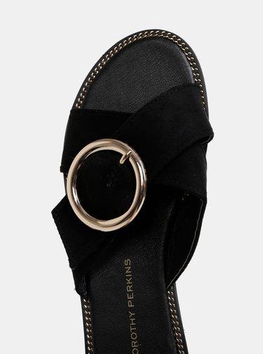 Papuci negri cu aspect de piele intoarsa Dorothy Perkins