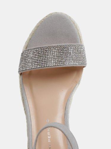 Svetlosivé sandálky v semišovej úprave na platforme Dorothy Perkins