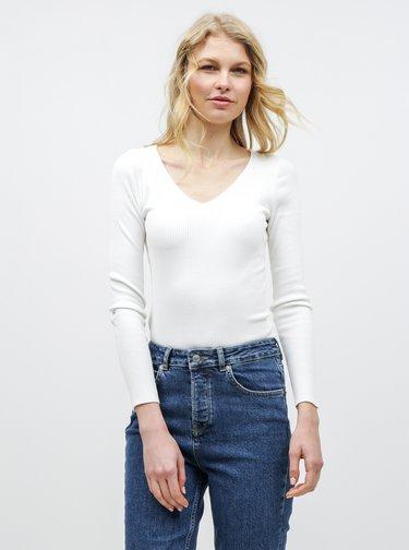 Biele rebrované tričko s čipkou na chrbte Miss Selfridge